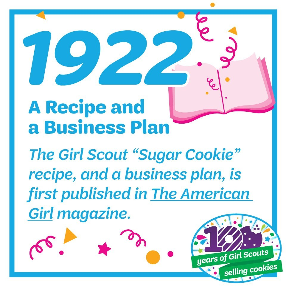 "1922: A Recipe and a Business Plan—The Girl Scout ""Sugar Cookie"" recipe and a business plan for cookie sales are first published in The American Girl magazine."