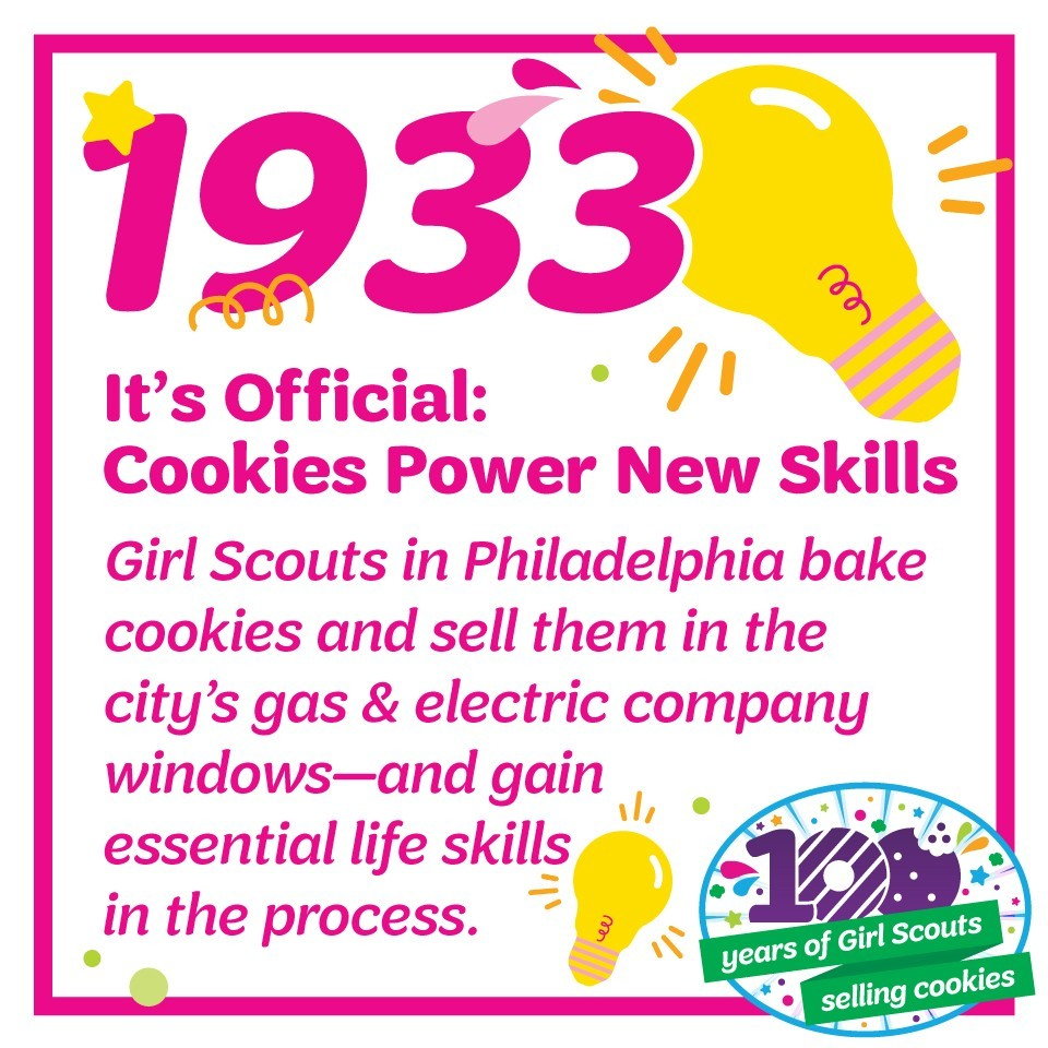 1933: It's Official: Cookies Power New Skills—Girl Scouts in Philadelphia bake cookies and sell them in the city's gas & electric company windows—and gain essential life skills in the process.