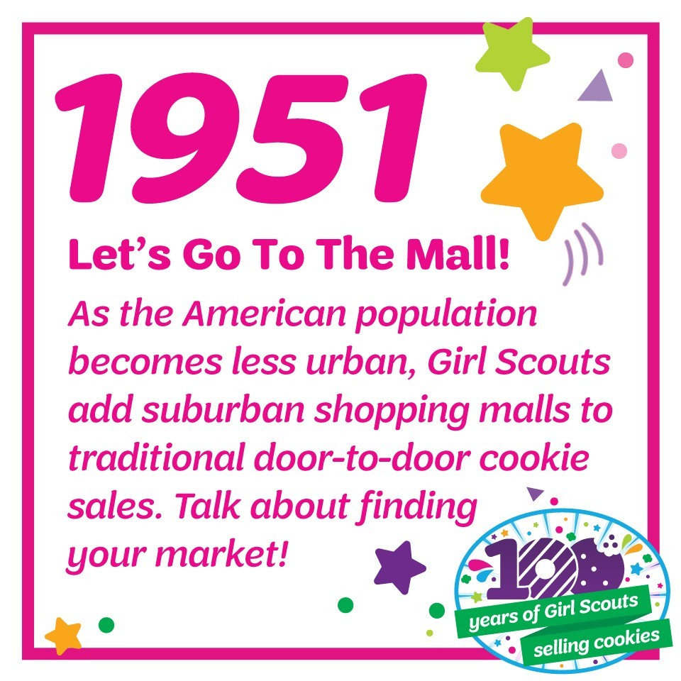 1951: Let's Go to the Mall!—As the American population becomes less urban, Girl Scouts add suburban shopping malls to traditional door-to-door cookie sales. Talk about finding your market!