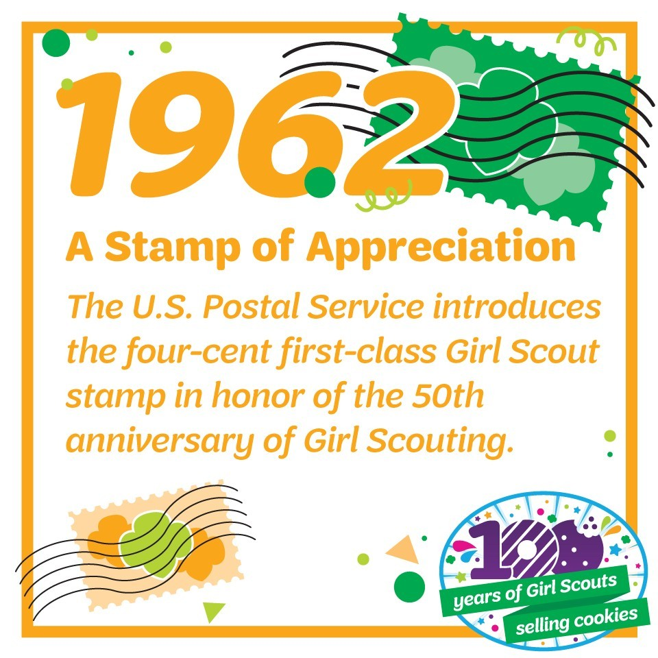 1962: A Stamp of Appreciation—The U.S. Postal Service introduces the four-cent first-class Girl Scout stamp in honor of the 50th anniversary of Girl Scouting.