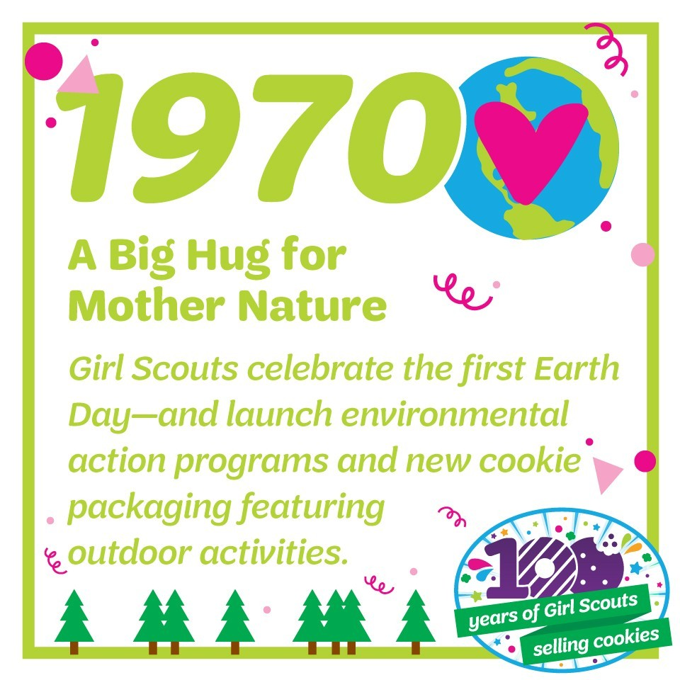 1970: A Big Hug for Mother Nature—Girl Scouts celebrate the first Earth Day—and launch environmental action programs and new cookie packaging featuring outdoor activities.