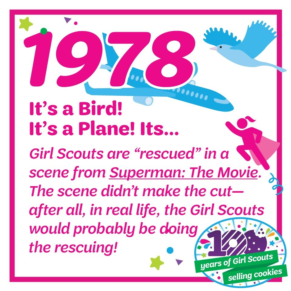 "1978: It's a Bird! It's a Plane! It's…—Girl Scouts are ""rescued"" in a scene from Superman: The Movie. The scene didn't make the final cut—after all, in real life, the Girl Scouts would probably be doing the rescuing!"