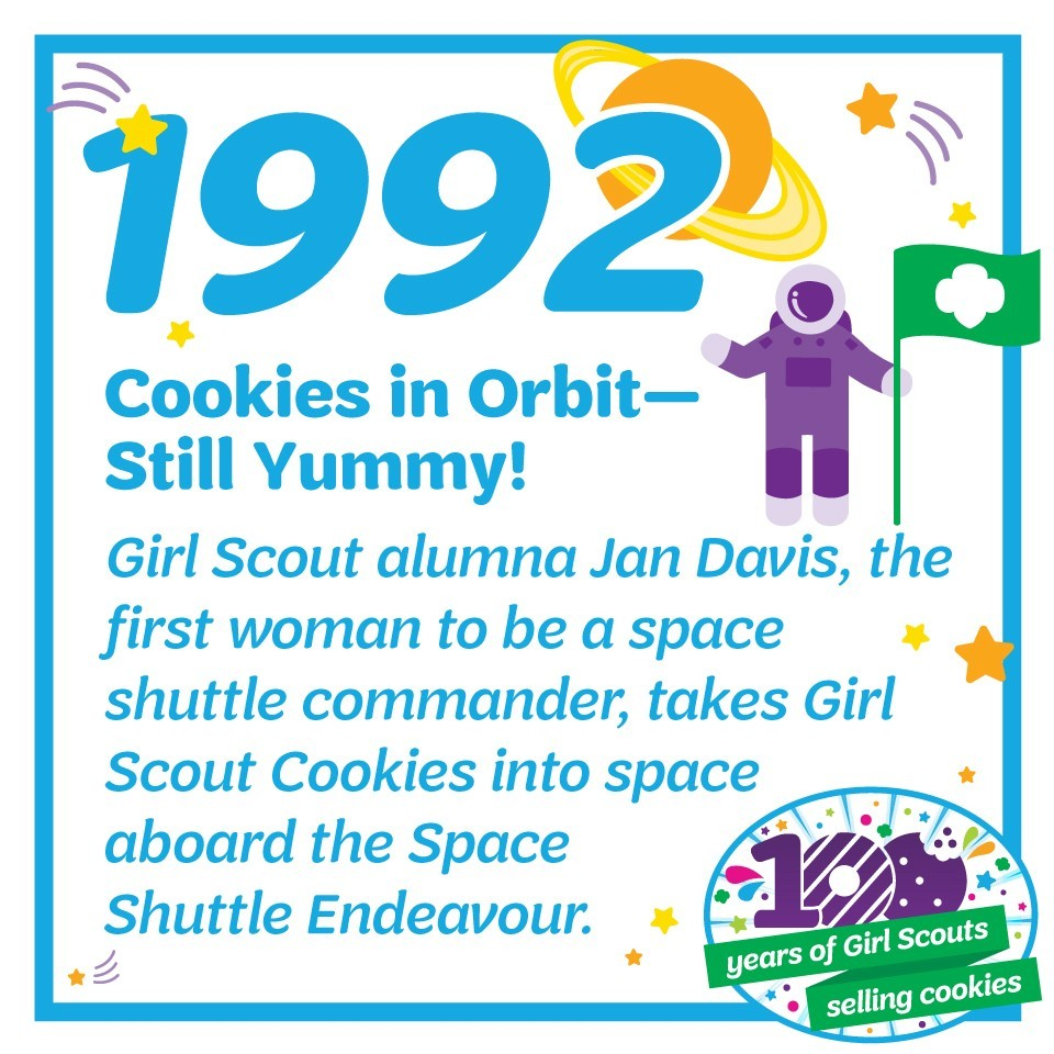1992: Cookies in Orbit—Still Yummy!—Girl Scout alumna Jan Davis, the first woman to be a space shuttle commander, takes Girl Scout Cookies into space aboard the Space Shuttle Endeavour.