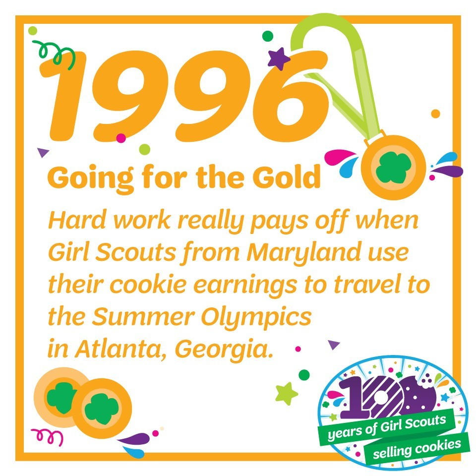 1996: Going for the Gold—Hard work really pays off when Girl Scouts from Maryland use their cookie earnings to travel to the Summer Olympics in Atlanta, Georgia.