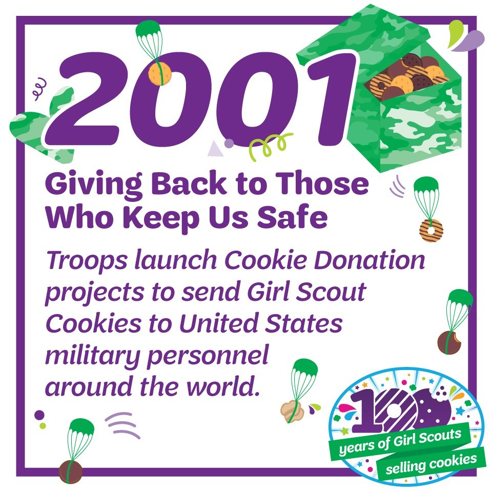 2001: Giving Back to Those Who Keep Us Safe—Troops launch Cookie Donation projects to send Girl Scout Cookies to United States military personnel around the world.