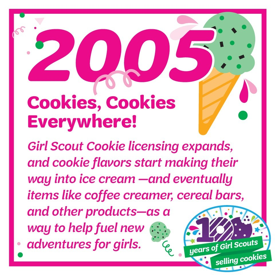 2005: Cookies, Cookies Everywhere!—Girl Scout Cookie licensing expands, and cookie flavors start making their way into ice cream—and eventually items like coffee creamer, cereal bars, and other products—as a way to help fuel new adventures for girls.