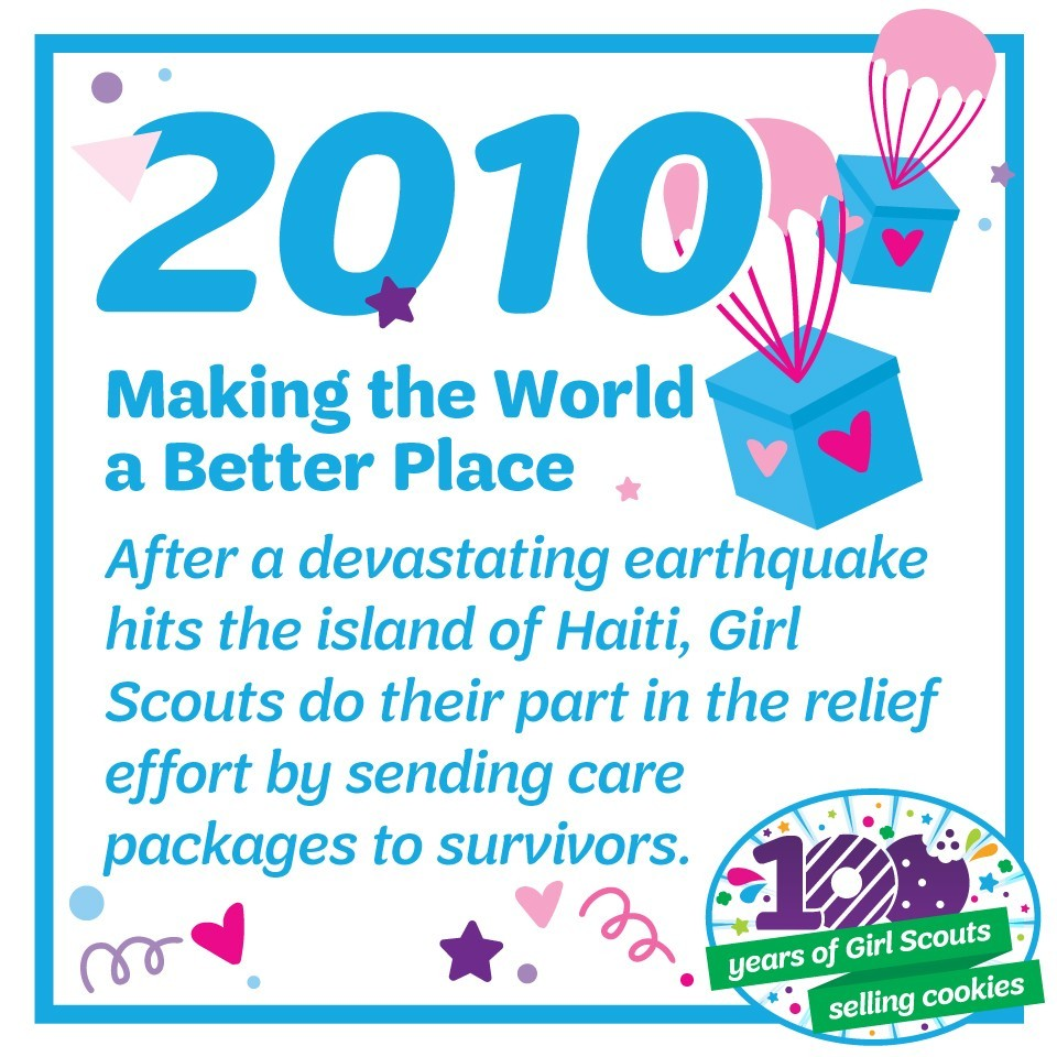 2010: Making the World a Better Place—After a devastating earthquake hits the island of Haiti, Girl Scouts do their part in the relief effort by sending care packages to survivors.