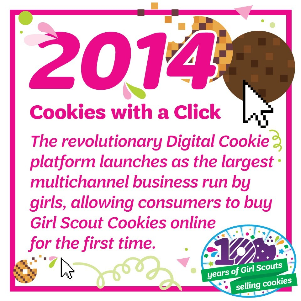 2014: Cookies with A Click—The revolutionary Digital Cookie platform launches as the largest multichannel business run by girls, allowing consumers to buy Girl Scout Cookies online for the first time.