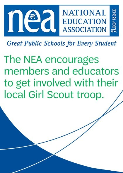 The NEA encourages members and educators to get involved with their local Girl Scout troop.