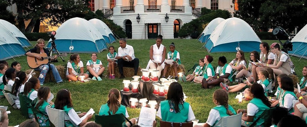 Girl Scouts camp out on the White House lawn with President Barack Obama and First Lady Michelle Obama