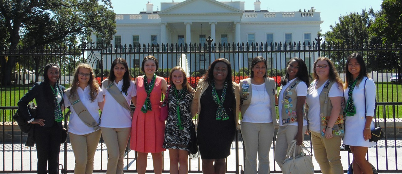 Girl Scouts visit the White House in Washington, DC