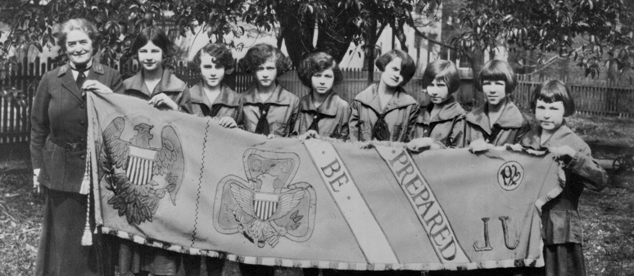 Be Prepared: Girl Scout founder Juliette Gordon Low and a group of Girl Scouts