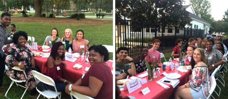 High school students from across the Panhandle of Florida gather at The Longest Table—Class of 2018 event hosted by Lily Sweet King in the fall of 2017.