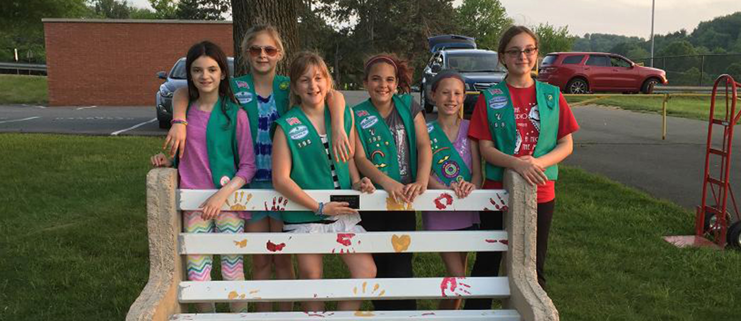 Girl Scouts Show Off Their Awesome Buddy Bench at Cumru Elementary in Eastern Pennsylvania