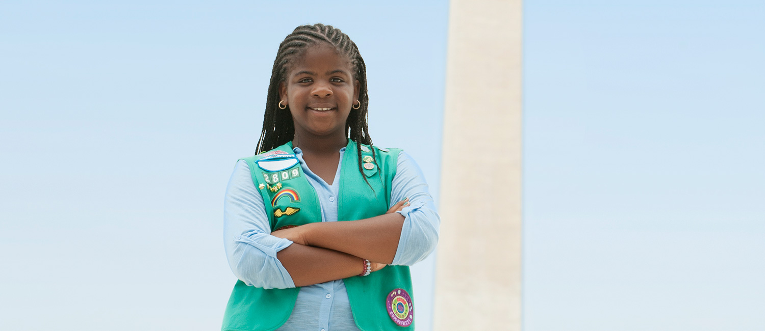 Girl Scout outside in Washington, D.C.