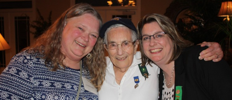 Girl Scout volunteer (Lori) with Lofi (center) and staff member Meredith (right) at a Girl Scouts North Carolina Coastal Pines event in 2016.