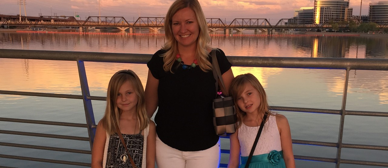 Sarah and her daughters Kayla and Kaydence enjoy an evening out together.