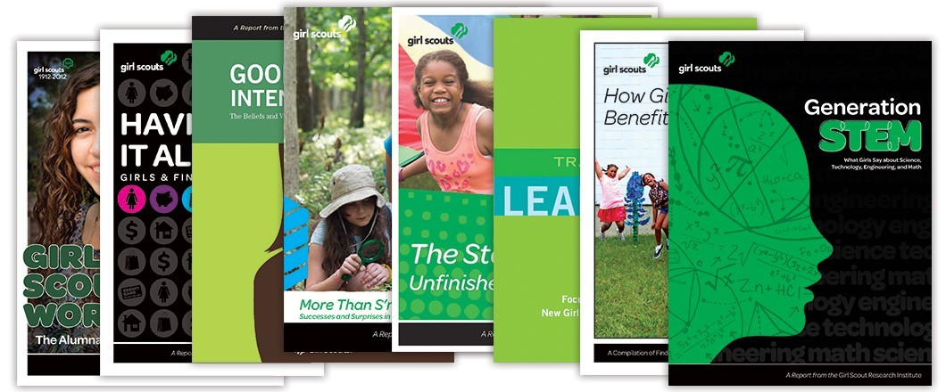 Photo collage: Girl Scout Research Institute publications