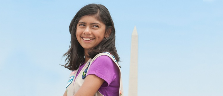 Confident girl in Washington, DC at the Washington Monument