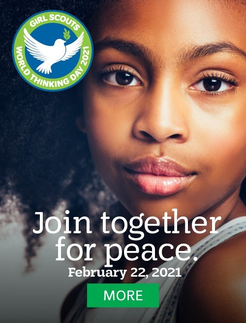 Join together for peace. World Thinking Day. February 22, 2021. MORE