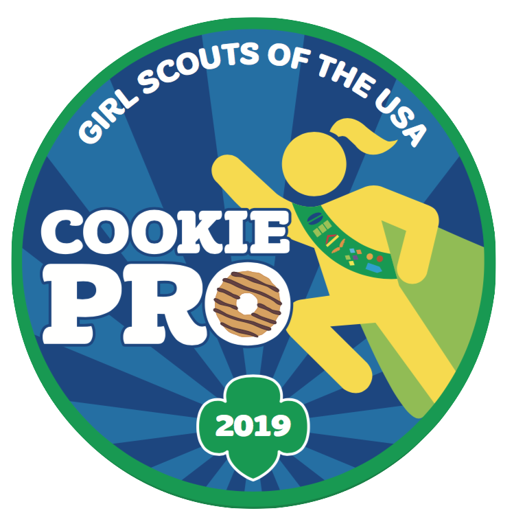 Girl Scouts of the USA. Cookie pro 2019 patch illustration.