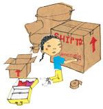 Illustration of a girl packing boxes. (Illustrator: Linden Elstran, Six Sisters Design)